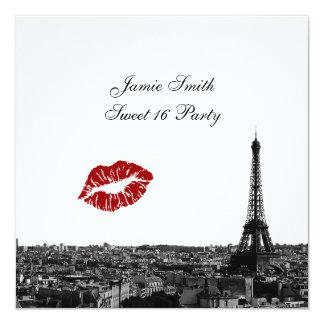 Paris France Skyline Kiss #1 BW Sweet 16 V Card