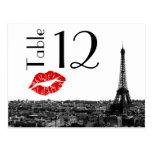 Paris France Skyline Kiss #1 BW Table Number Card Postcards