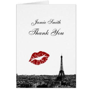 Paris France Skyline Kiss #1 BW Thank You Cards