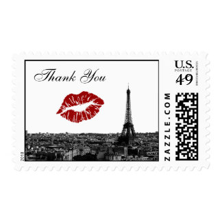 Paris France Skyline Kiss #1 BW Thank You Stamps