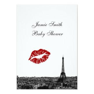 Paris France Skyline Kiss #1 BW V Baby Shower Card