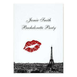Paris France Skyline Kiss #1 BW V Bachelorette Invitations