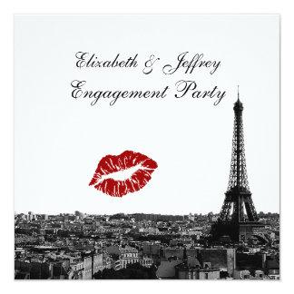 Paris France Skyline Kiss #1 BW V Engagement Card