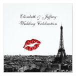 Paris France Skyline Kiss #1 BW Wedding Card