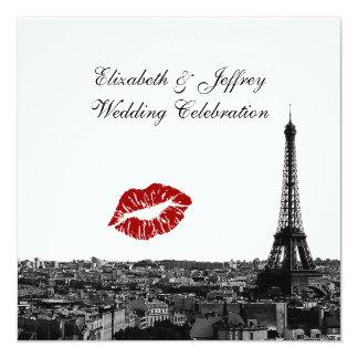 Paris France Skyline Kiss #1 BW Wedding Personalized Invitation
