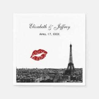 Paris France Skyline Kiss #1 BW Wedding Standard Cocktail Napkin