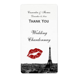 Paris France Skyline Kiss #1 BW Wine Label TY Shipping Label