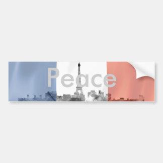 Paris, France Skyline with French Flag Car Bumper Sticker