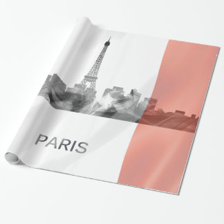 Paris, France Skyline with French Flag Wrapping Paper
