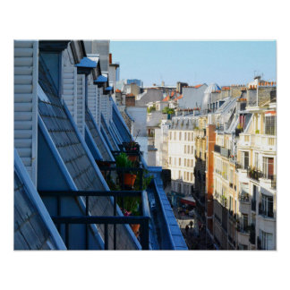 Paris France streets from a roof top Poster
