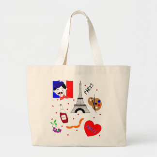 Paris France Themed Cute Fun Red White Blue Design Large Tote Bag