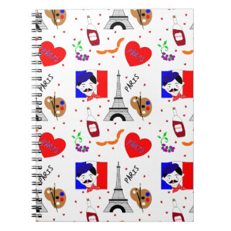 Paris France Themed Cute Fun Red White Blue Design Notebook