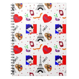 Paris France Themed Cute Fun Red White Blue Design Spiral Note Book