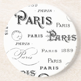 Paris France Typography Souvenirs Sandstone Coaster