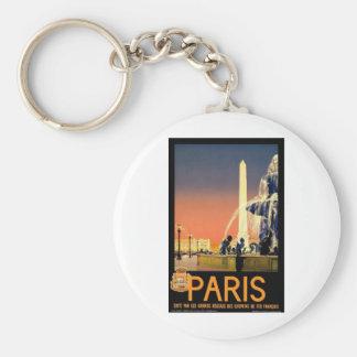 Paris France Vintage Basic Round Button Keychain