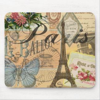 Paris France Vintage Travel Collage Art Print Mouse Pad