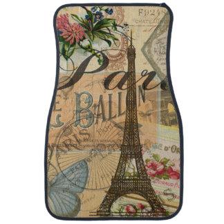 Paris France Vintage Travel Collage Car Mat