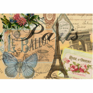 Paris France Vintage Travel Collage Cutout