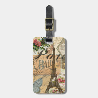 Paris France Vintage Travel Collage Luggage Tag