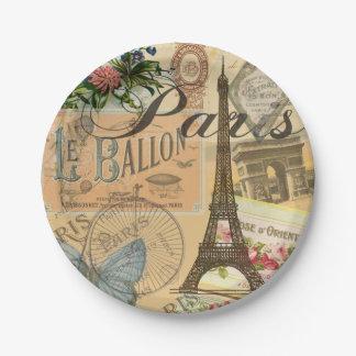 Paris France Vintage Travel Collage Paper Plate