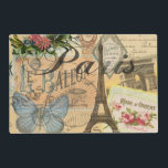 "Paris France Vintage Travel Collage Placemat<br><div class=""desc"">This beautiful travel collage has everything to love in Paris. The Paris collage is the perfect gift for travelers to European destinations, and European cities like Paris, France are where people can explore iconic French things. This Paris travel collage has lots of old vintage paris lettering and paris drawings combined...</div>"