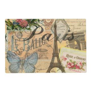 Paris France Vintage Travel Collage Placemat