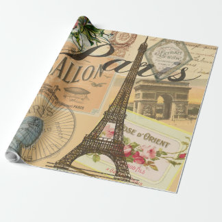Paris France Vintage Travel Collage Wrapping Paper