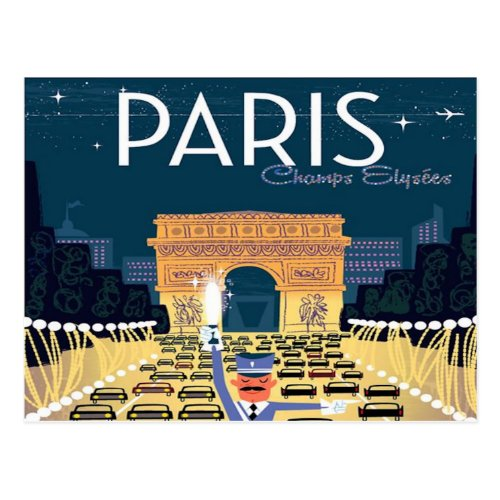 Paris France Vintage Travel retro tourism vacation Postcard