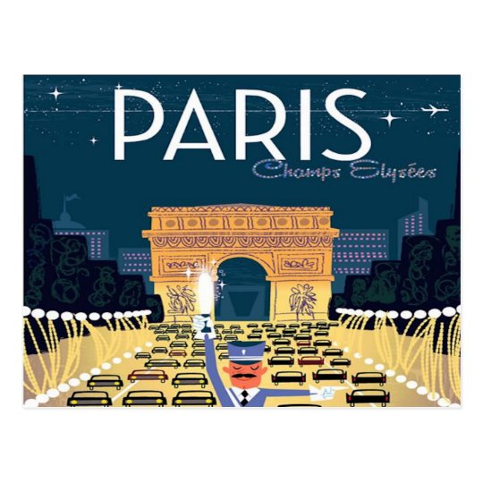 Paris France Vintage Travel retro tourism vacation ...