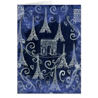 Paris France White & Blue Motif Design Card