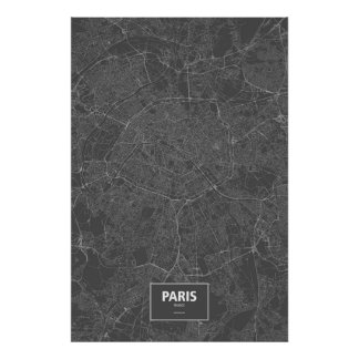 Paris, France (white on black) Print