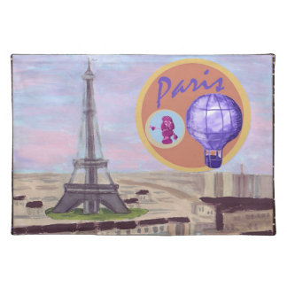 Paris France with Eiffel Tower hot air balloon and Cloth Placemat