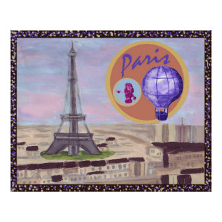 Paris France with Eiffel Tower, pink poodle, and h Poster