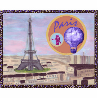 Paris France With Eiffel Tower, Poodle, & Hot Air  Acrylic Cut Outs