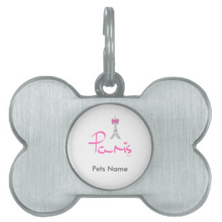 Paris,-France-with-Pink-Bow Pet Name Tag
