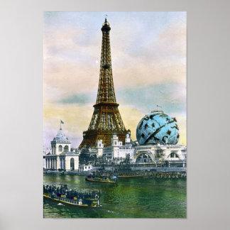 Paris France World Fair 1889 - Vintage Travel Poster