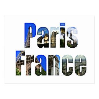 París Francia con las atracciones turísticas Tarjetas Postales