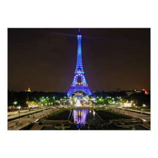 París, Francia - Eiffel en la noche Póster