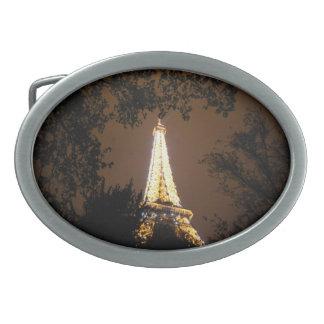 París, Francia - torre Eiffel en la noche Hebillas Cinturón Ovales