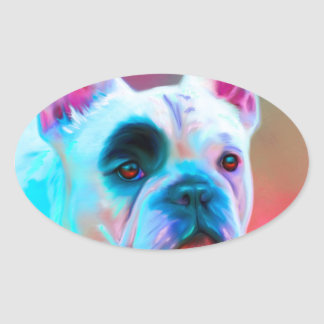 Paris French Bulldog Oval Stickers