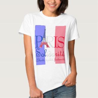 Paris French Flag Eiffel Tower Solidarité Liberté T Shirt