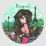 Paris French Girl Bonjour Stickers by Hannah Lynn