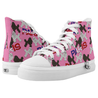 Paris French Poodles Pink Zipz High Tops