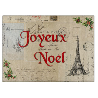 Paris French Postcards Christmas Cutting Board