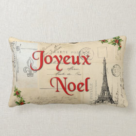 Paris French Postcards Christmas Pillow
