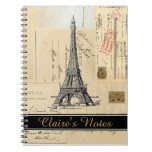 Paris French Postcards Personalize Spiral Notebook