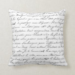 Paris French Script Chic Handwriting Pillow