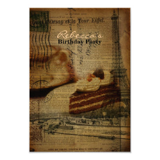 paris french vintage cake birthday party card