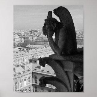 Paris Gargoyle B&W Poster
