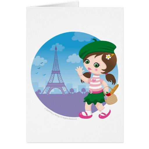 Paris girl greeting cards